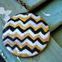 Jewel Toned Chevron Necklace by JageInACage on Etsy