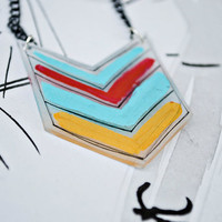 Chevron Shrinky Dink Necklace by JageInACage on Etsy