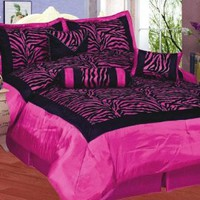 8pcs Hot Pink Black Satin Zebra Flocking Comforter Set Full Size with 4 Pillows