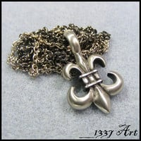 Fleur de Lis Necklace with Gunmetal and Silver Chain by 1337art