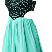 Cut Out Spring Dresses - Green