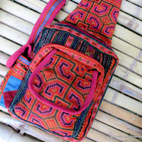 Tribal Backpack One Shoulder Design Ethnic Hmong Embroidery Tangerine and Rose