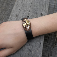 Clockpunk Steampunk Black and Brown Leather Bracelet with Silver Filigree & Brass Gears: for Men, Women, Teens, Guys, Gals, Unisex