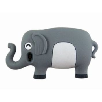 HJX Iphone 4 3D Cartoon Cute Elephant Animal Silicone Case Cover for iPhone 4 4S Gray + Gift 1pcs Insect Mosquito Repellent Wrist Bands bracelet