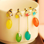 Candy-colored asymmetric diamond earrings - Earrings