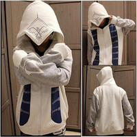 2013 New Assassins Creed III 3 Connor Hoodie Cosplay Costume Top Coat Jacket