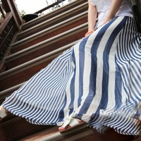 black and white Chiffon stripes half long skirt