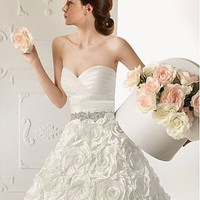 [549.99] Stunning Satin & Taffeta A-line Sweetheart Neckline Natural Waist Sleeveless Beaded Wedding Dress with Lace Appliques  - Dressilyme.com