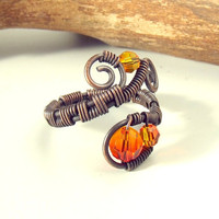Campfire copper ring  wire wrapped antiqued rustic by VeraNasfa