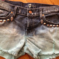 Womens 7 For All Mankind Custom Distressed ombre Studded Denim jean Shorts Sz 28
