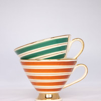 Striped Art deco coffee cups, green and brown striped classy cups