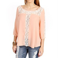 Peach  Lace Contrast Blouse