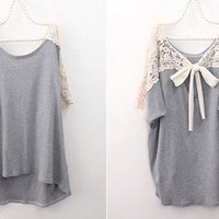 Cute Lace Back and Short Sleeve Grey Loose T-shitr