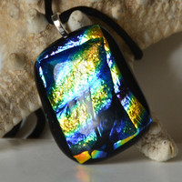 Rainbow Dichroic Fused Glass Necklace by eyeseesage on Etsy