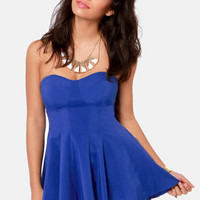 Your Finest Hourglass Strapless Blue Top