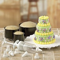 6PC MINI-TIERED CAKE PAN SET WITH DECORATING ACCESSORIES (TOTAL 14PC. SET)