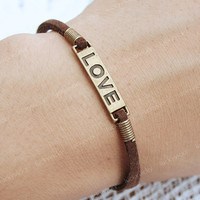 Love bracelet-vintage true love bracelet-Coffee cord bracelet