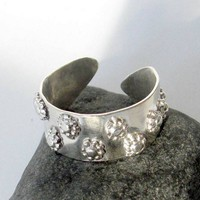 Sterling handforged ring with flowers wrap wide band