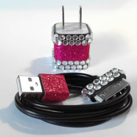 Pink Glitter and Clear Rhinestones iPhone Charger & Cord