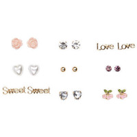 10pc Studs Word Flower Earring