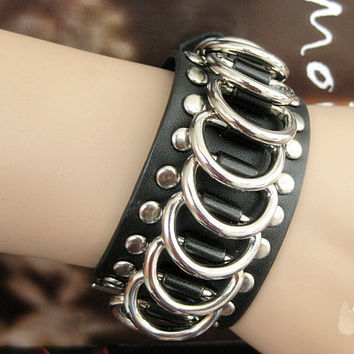 Punk Rock Style Women Black Leather Bracelet Women Jewelry Bangle Men Leather Bracelet  1275A-BL