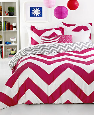 Chevron pink 5 piece comforter sets from macys love - Cute bed sets tumblr ...