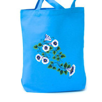 Blue Flowered Tote Bag