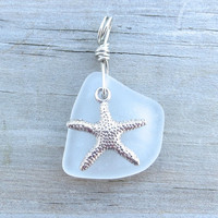 Sea Glass Starfish Necklace White Beach Sea Foam