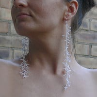 Extra Long Earrings. Dangle Long Earrings. Shoulder Dusters. Silver Earrings. Beadwork