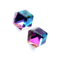3D Geometric Rainbow Crystal Earrings