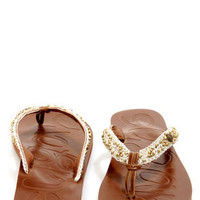 Sugar Vivacious Cream Beaded Macrame Thong Sandals