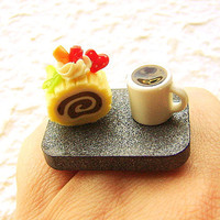 Coffee Ring Miniature Food Jewelry Coffee by SouZouCreations