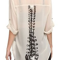 Sheer Chiffon Spine Back Top - 728617