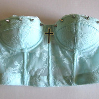 Mint Cross And Spikes Bra Top