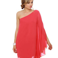 Lovely Red Dress - One Shoulder Dress - &amp;#36;39.00