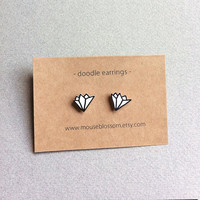 Abstract doodle earrings black and white shrink plastic