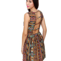 Southwest Print Dress - Tank Dress - $39.00