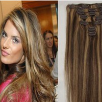 #4/27 Dark Brown & Blonde Clip In 100% Human Hair Extensions
