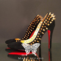 "Black sueded genuine leather, Gold Spikes, 5"" heel Pumps."