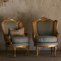Gorgeous Pair of Butterfly Bergeres in Two Tone Upholstery and Gold