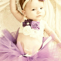 The Teagan Tutu, Top, & Headband- Purple and Ivory, Baby, Girl, Newborn, Infant, Toddler, photo prop, roses, flowers, 1st birthday, birthday