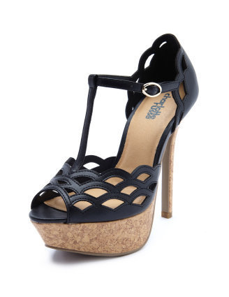 Charlotte Russe - Scalloped T-Strap Cork Heel