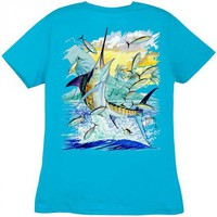 Guy Harvey Island Marlin Ladies Back-Print Tee with Front Signature in Black, White, Caribbean Blue or Raspberry