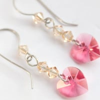 Indian pink golden shadow Swarovski Crystal Drop Heart Earrings