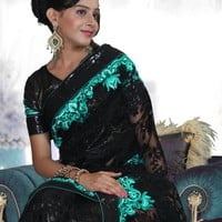 Black Net Sari With Sequins Border. : Online Shopping, - Shop for great products from India with discounts and offers