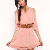 A'GACI Belted Cold Shoulder Challis Dress - Dresses