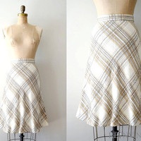 vintage 1970s skirt 70s wool skirt / neutral by shopREiNViNTAGE