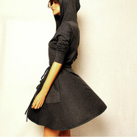 Grey Hooded Dress by MIRIMIRIFASHION on Etsy
