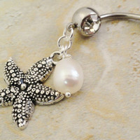 Starfish and Pearl Belly Button Ring Belly by MidnightsMojo