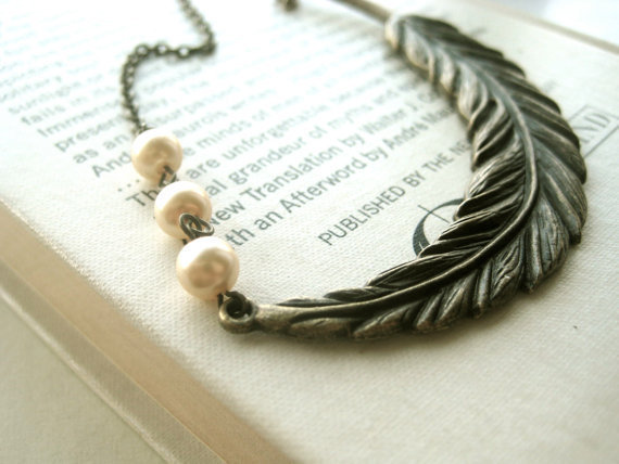 Feather Bridesmaid Necklace statement by littlewhitechapel